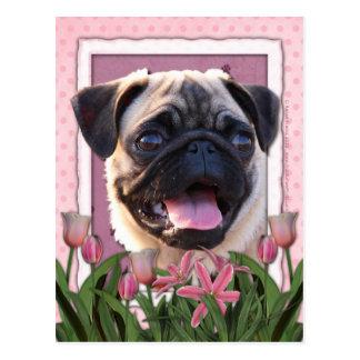 Mutter-Tag - rosa Tulpen - Mops Postkarten