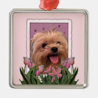 Mutter-Tag - rosa Tulpen - Morkie - Lacey Quadratisches Silberfarbenes Ornament