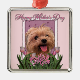 Mutter-Tag - rosa Tulpen - Morkie - Lacey Silbernes Ornament