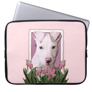 Mutter-Tag - rosa Tulpen - Pitbull Welpe - Petey Laptop Computer Schutzhüllen