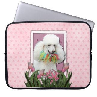 Mutter-Tag - rosa Tulpen - Pudel - Weiß Laptop Sleeve Schutzhüllen