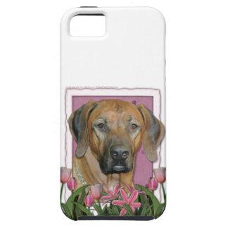 Mutter-Tag - rosa Tulpen - Rhodesian Ridgeback iPhone 5 Cover