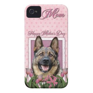 Mutter-Tag - rosa Tulpen - Schäferhund Case-Mate iPhone 4 Hülle