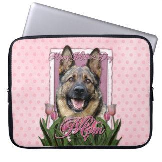 Mutter-Tag - rosa Tulpen - Schäferhund Laptop Schutzhülle