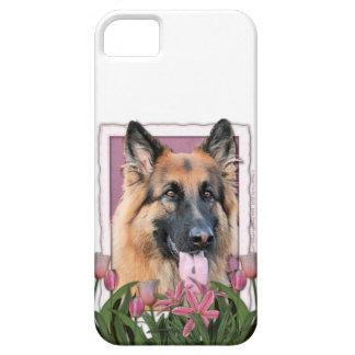 Mutter-Tag - rosa Tulpen - Schäferhund-Möglichkeit Etui Fürs iPhone 5