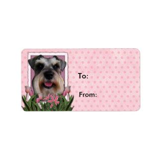Mutter-Tag - rosa Tulpen - Schnauzer Adress Aufkleber