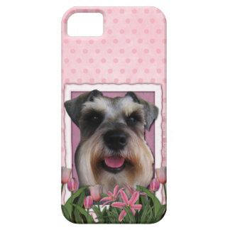 Mutter-Tag - rosa Tulpen - Schnauzer iPhone 5 Etui