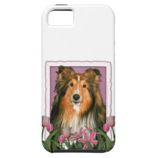 Mutter-Tag - rosa Tulpen - Sheltie iPhone 5 Schutzhülle