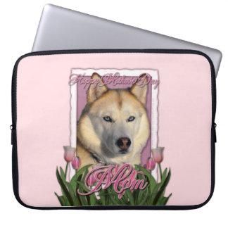 Mutter-Tag - rosa Tulpen - sibirischer Husky Laptop Sleeve Schutzhülle