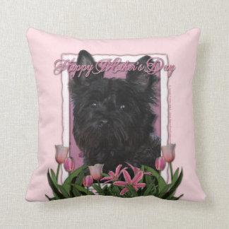 Mutter-Tag - rosa Tulpen - Steinhaufen Terrier - Kissen