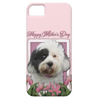 Mutter-Tag - rosa Tulpen - tibetanisches Terrier iPhone 5 Schutzhüllen