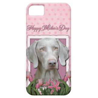 Mutter-Tag - rosa Tulpen - Weimaraner - Goldaugen iPhone 5 Schutzhülle