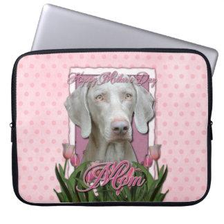 Mutter-Tag - rosa Tulpen - Weimaraner - Goldaugen Laptop Sleeve Schutzhülle