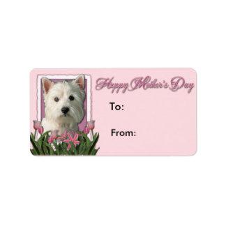 Mutter-Tag - rosa Tulpen - Westie Adressaufkleber
