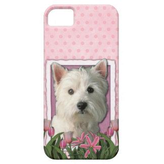 Mutter-Tag - rosa Tulpen - Westie iPhone 5 Etui