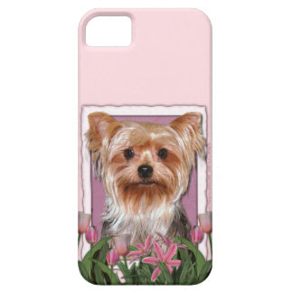 Mutter-Tag - rosa Tulpen - Yorkshire Terrier iPhone 5 Etui