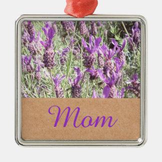 Mutter-Tagesfranzösischer Lavendel-Mamma Quadratisches Silberfarbenes Ornament