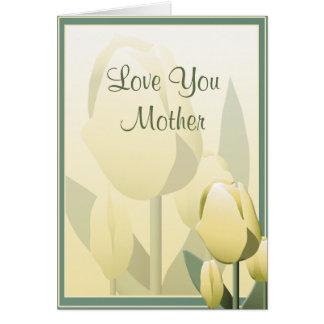 Mutter-Tagesschöne Frühlings-Tulpe-gelbe Karte Grußkarte