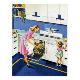 Mutter-/Tochter-Retro Küche #2 Postkarten