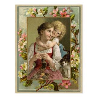 Mutter-u. Tochter-Vintage Wiedergabe-Postkarte Postkarte
