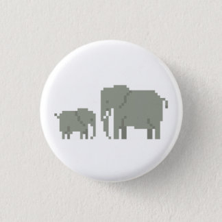 Mutter-und Baby-Elefant-Pixel-Kunst-Knopf Runder Button 3,2 Cm