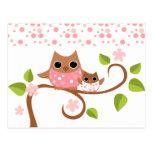 Mutter-und Baby-Eulen Postkarten