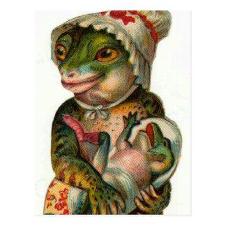 Mutter-und Baby-Frosch Postkarte