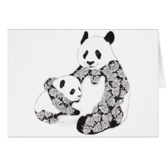 Mutter-und Baby-Panda-Illustration Karte