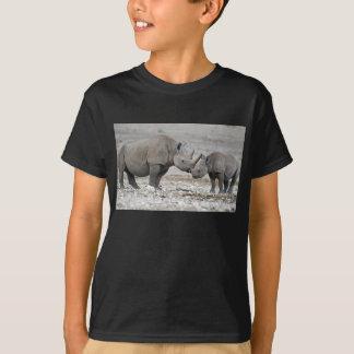 Mutter-und Kalb-schwarzes NashornDiceros Bicornis T-Shirt