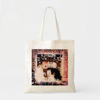 Mutter und Kind durch Collage Gustav Klimt Leinentasche