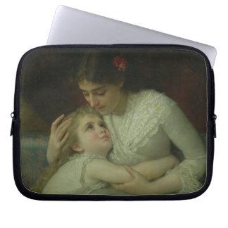 Mutter und Kind (Öl auf Leinwand) Laptop Schutzhülle