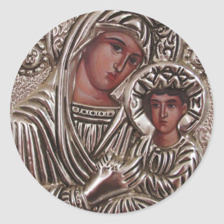 Mutter-und Kinderikone, Madonna und Jesus im Runder Aufkleber