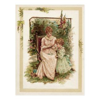 Mutter-und KinderVintage Wiedergabe Postkarte
