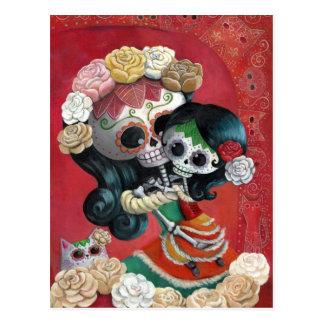 Mutter und Tochter Dia de Los Muertos Skeletons Postkarte