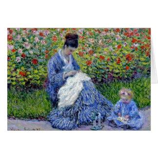 Mutter und Tochter im Garten Karte