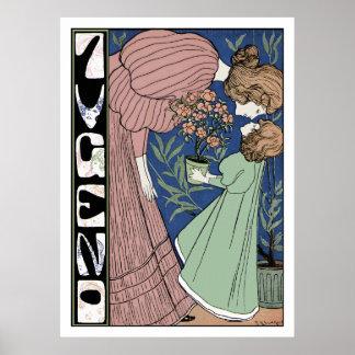 Mutter und Tochter - Kunst Nouveau Plakat