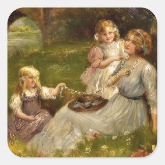 Mutter und Töchter Quadratischer Aufkleber