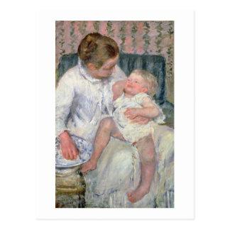 Mutter ungefähr, zum ihres schläfrigen Kindes, Postkarte