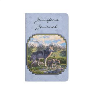 Mutter-Wolf-und Welpen-Himmel-Blau Taschennotizbuch