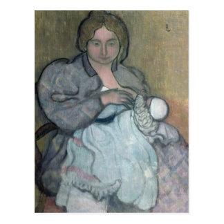 Mutterschaft mit einem weißen Kleid Postkarte