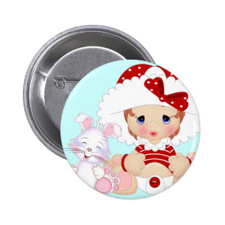 Mützen-Mädchen mit Häschen-Blau Runder Button 5,1 Cm