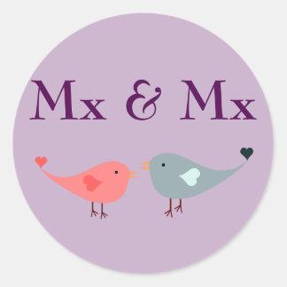 MX u. MX (Hochzeit) Runder Aufkleber