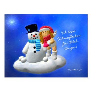 My Little Angel: Engel mit Schneemann Postkarte