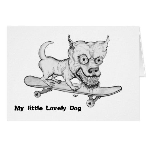 My little Lovely Dog - Bleistiftzeichnung Grußkarte