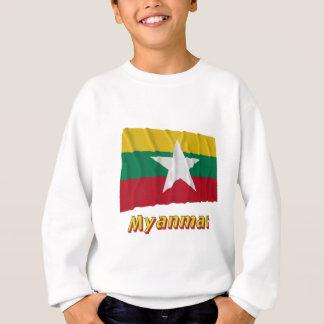 Myanmar, das Flagge mit Namen wellenartig bewegt Sweatshirt