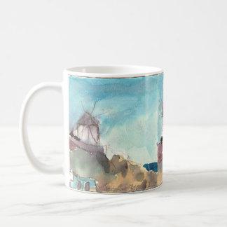 Mykonos berühmte Windmühlen auf einer Schale Kaffeetasse