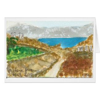 """""""Mykonos von Delos"""" Ansicht-Aquarell-Kunstkarte Karte"""