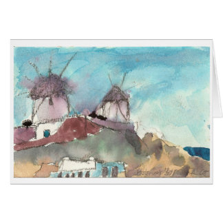 """Mykonos Windmühlen"" Aquarell-Kunstkarte Karte"