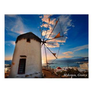Mykonos Windmühlen-Sonnenuntergang, Griechenland Postkarte
