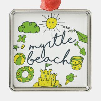 Myrtle- Beachskript Silbernes Ornament